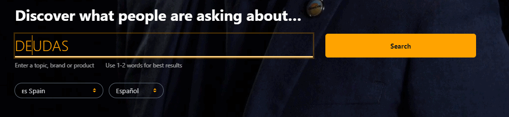 Answer the Public barra de búsqueda