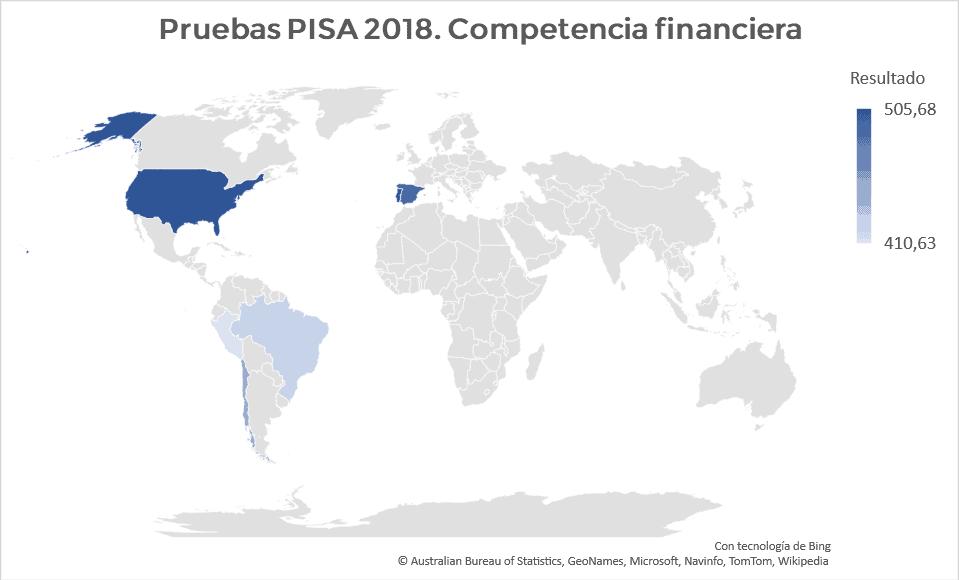 Pruebas pisa 2018. Mapa resultados competencia financiera.